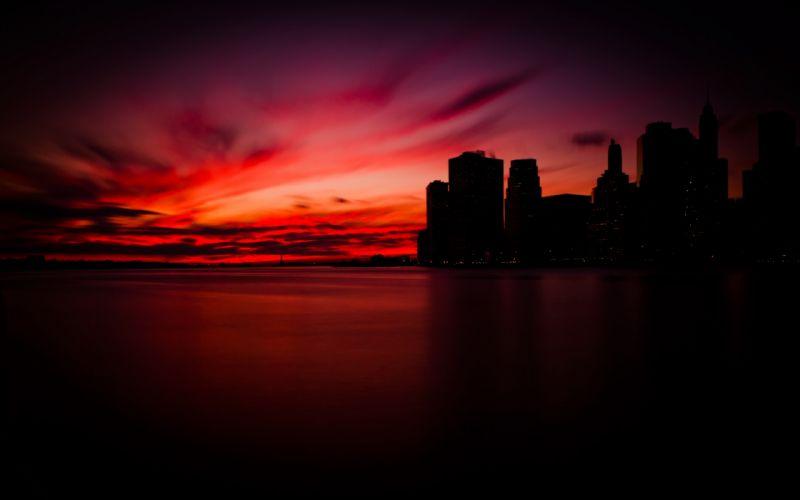 Sunset in Manhattan wallpaper