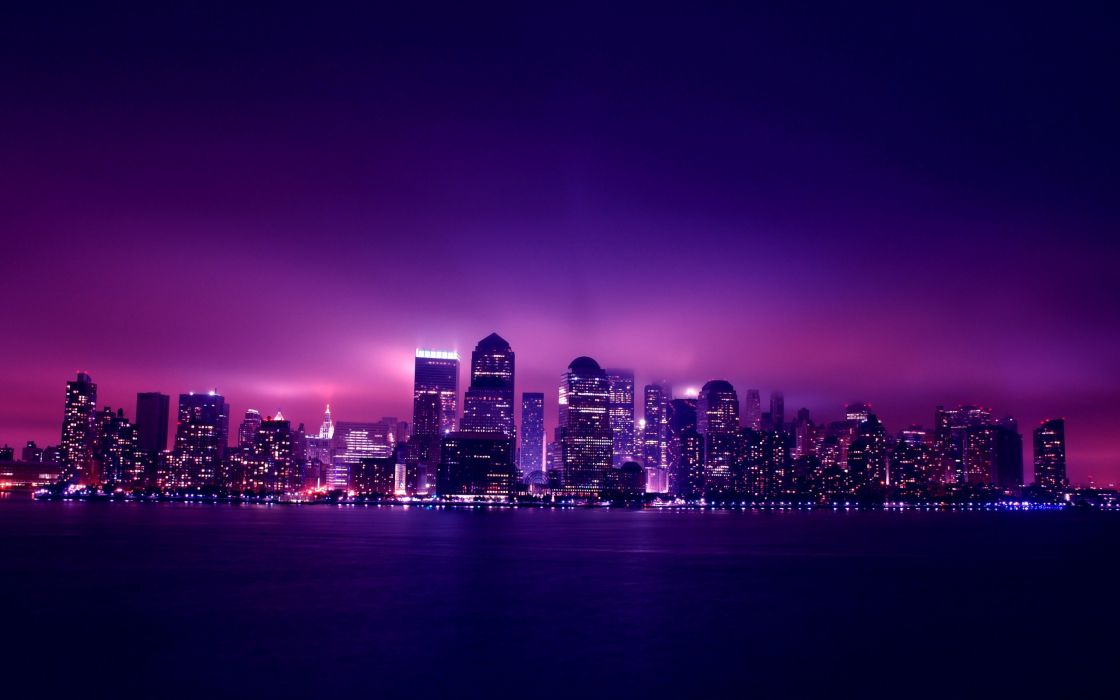 Purple New York at night wallpaper