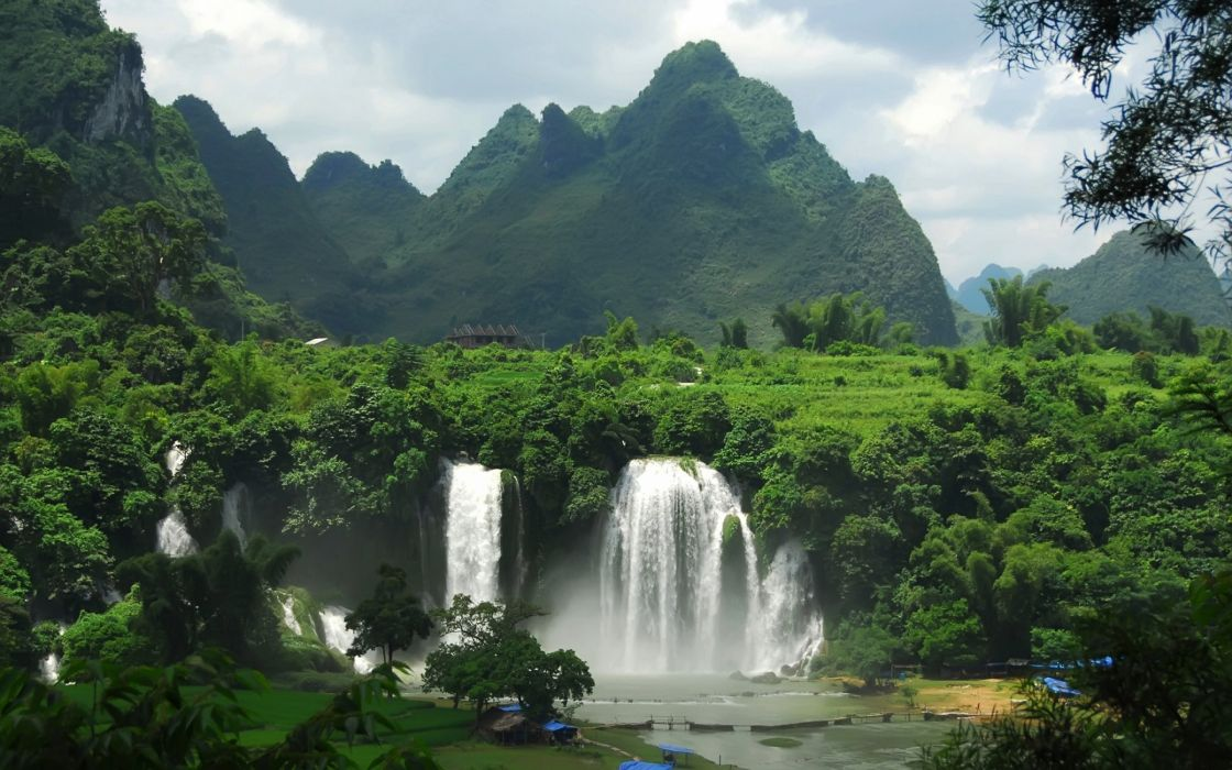 Superb mountain waterfall wallpaper