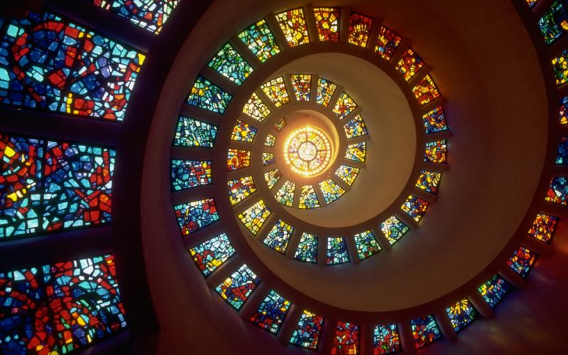 Spiral stained glass windows wallpaper