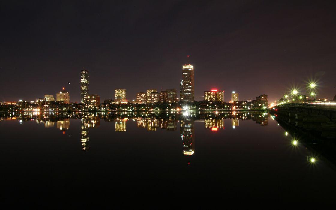 Boston during night wallpaper