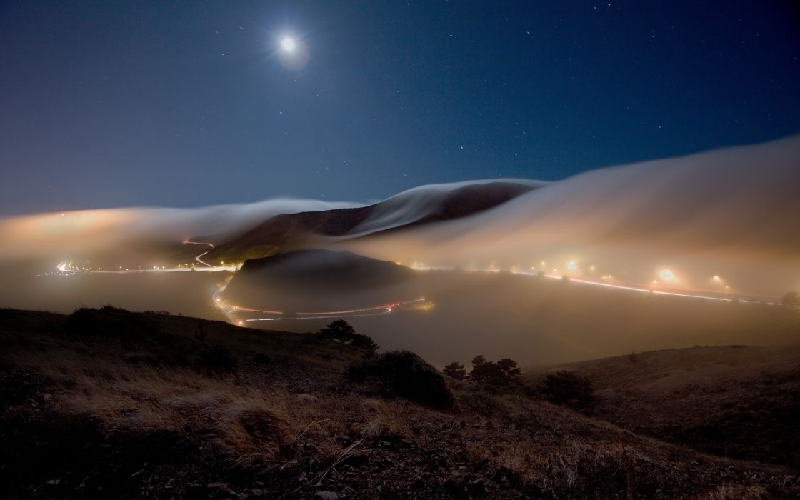 Night view from mountains wallpaper