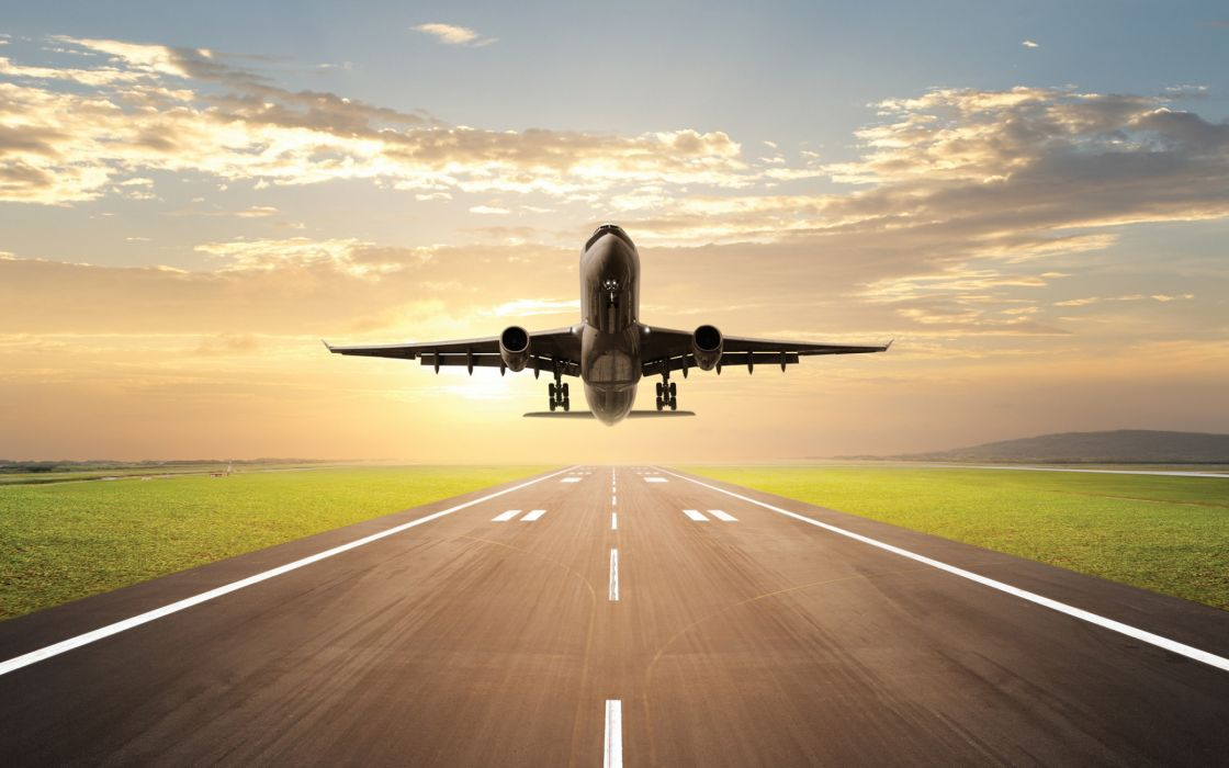 Airplane ready to take off wallpaper