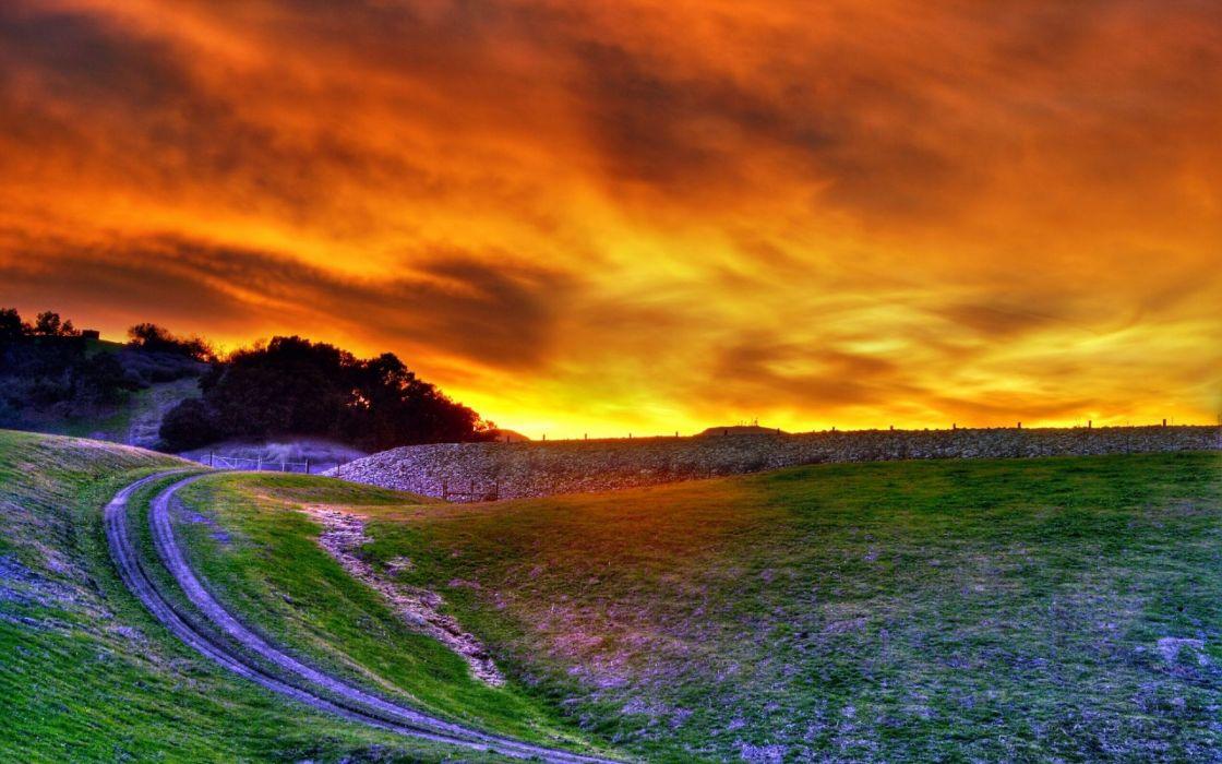 Amazing fire sunset wallpaper