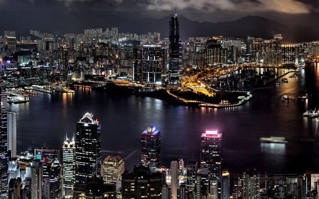 Night city scenery wallpaper