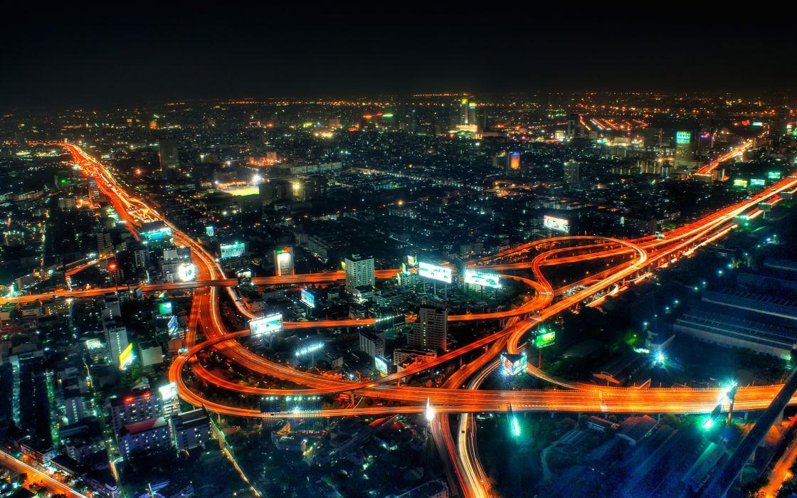 City life at night wallpaper