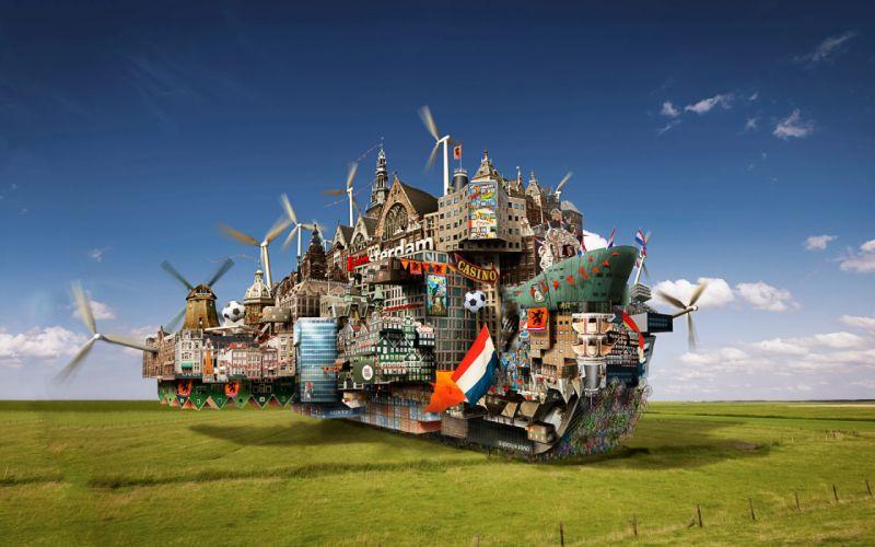Fantasy world in a boat wallpaper