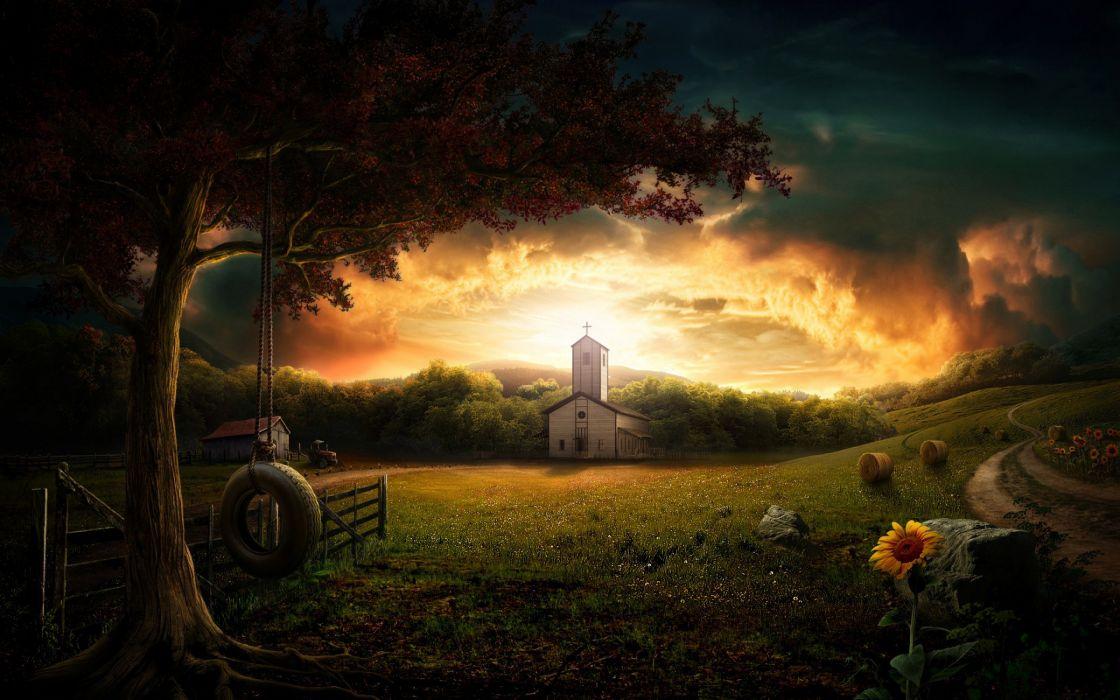 Amazing church view wallpaper