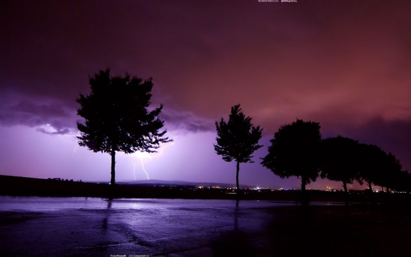 Distant lightning wallpaper