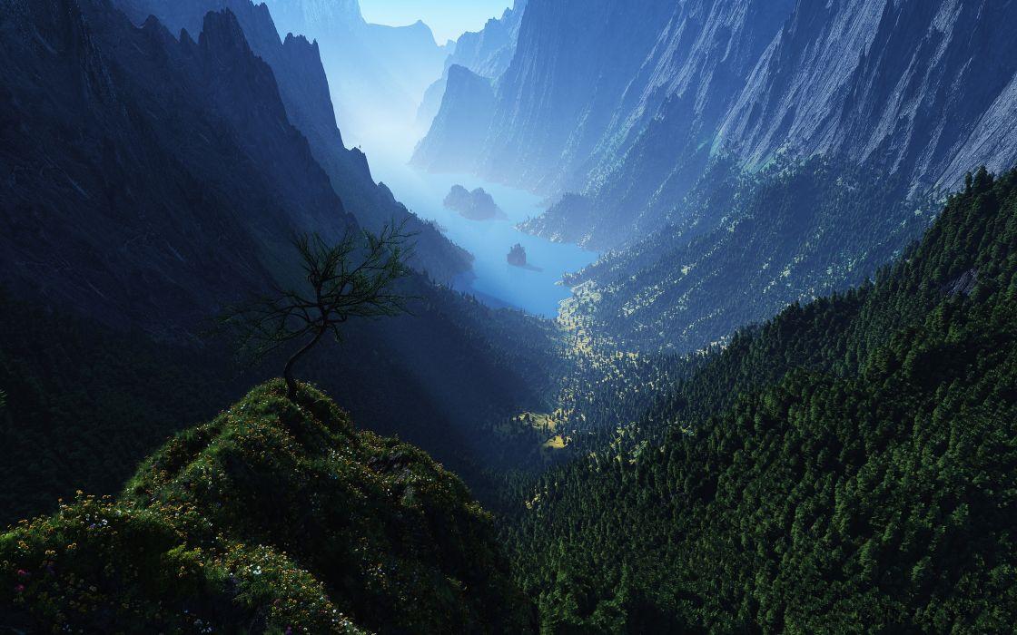 Green Mountains View wallpaper