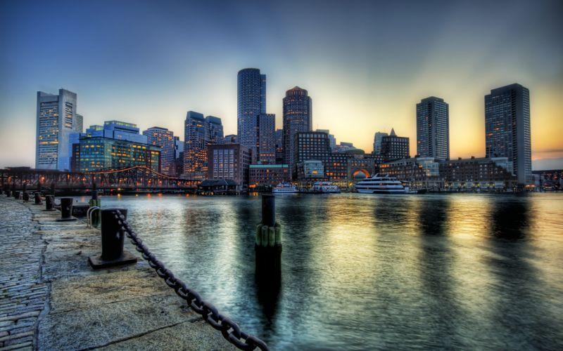Boston on the dusk wallpaper
