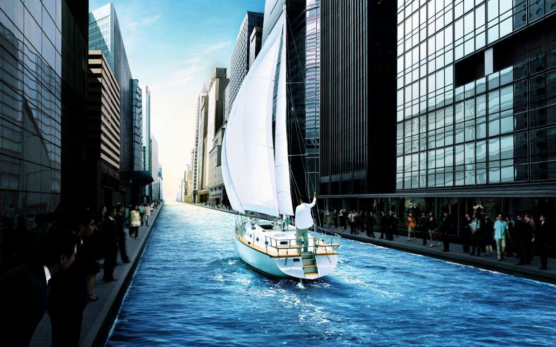 Great city sailing wallpaper