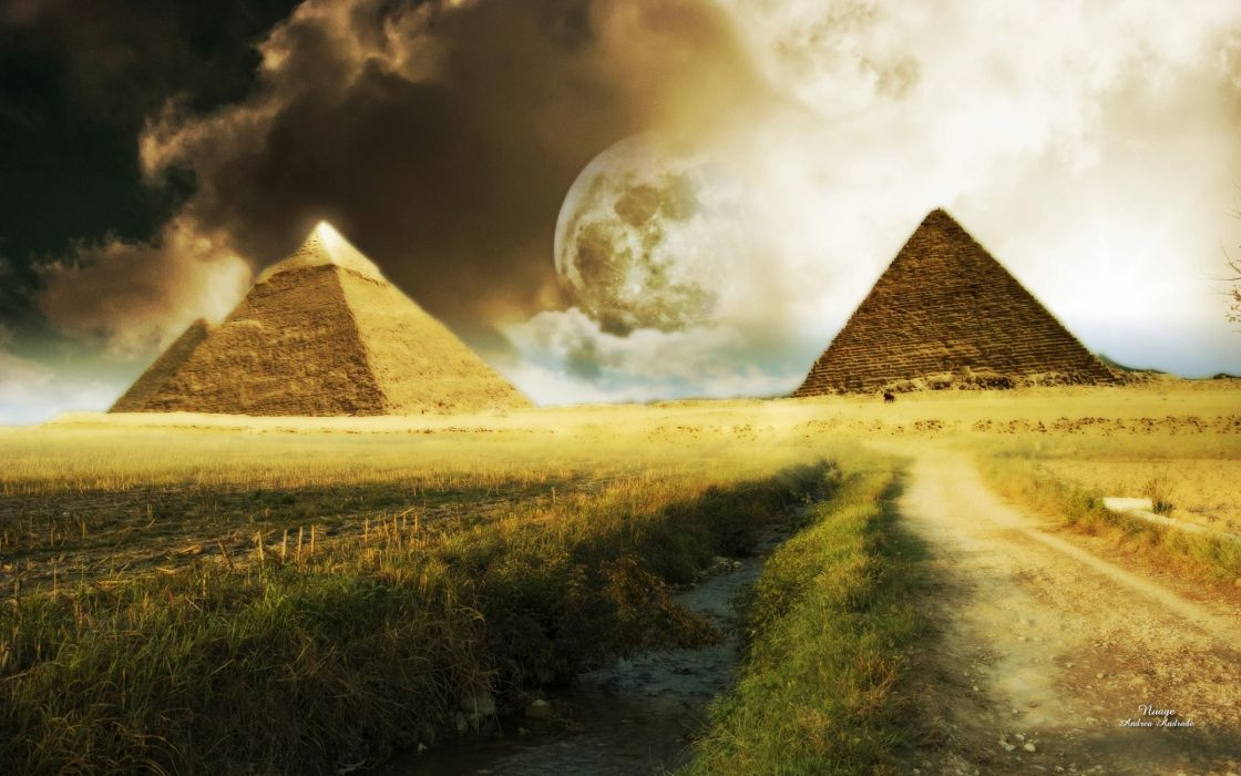 Nice surreal pyramids wallpaper