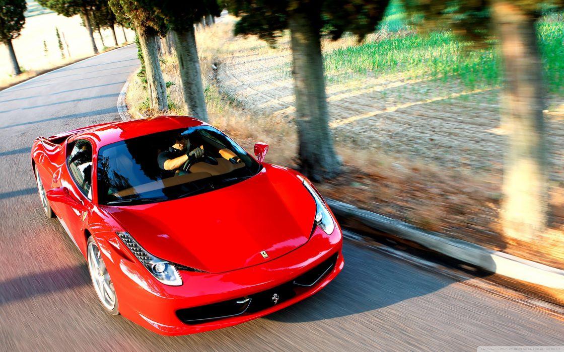 Ferrari 458 countryside wallpaper