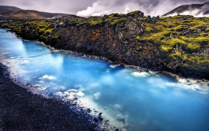Iceland landscape the blue calcite stream near the geothermal wallpaper
