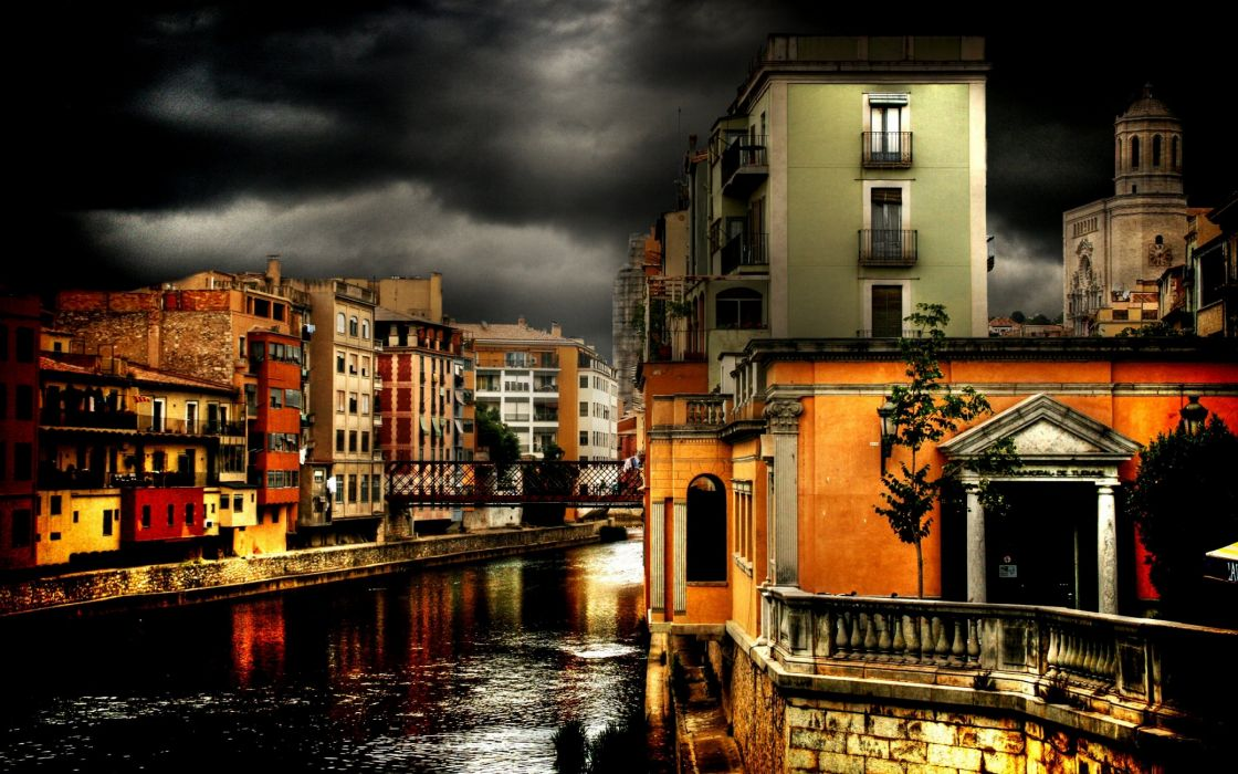 Dark town architecture wallpaper