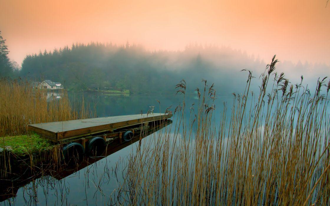 Lake pontoon bridge wallpaper