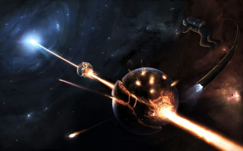 Disaster in space wallpaper