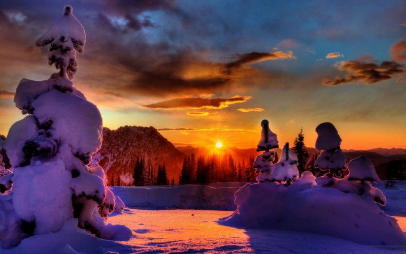 Winter sunset wallpaper