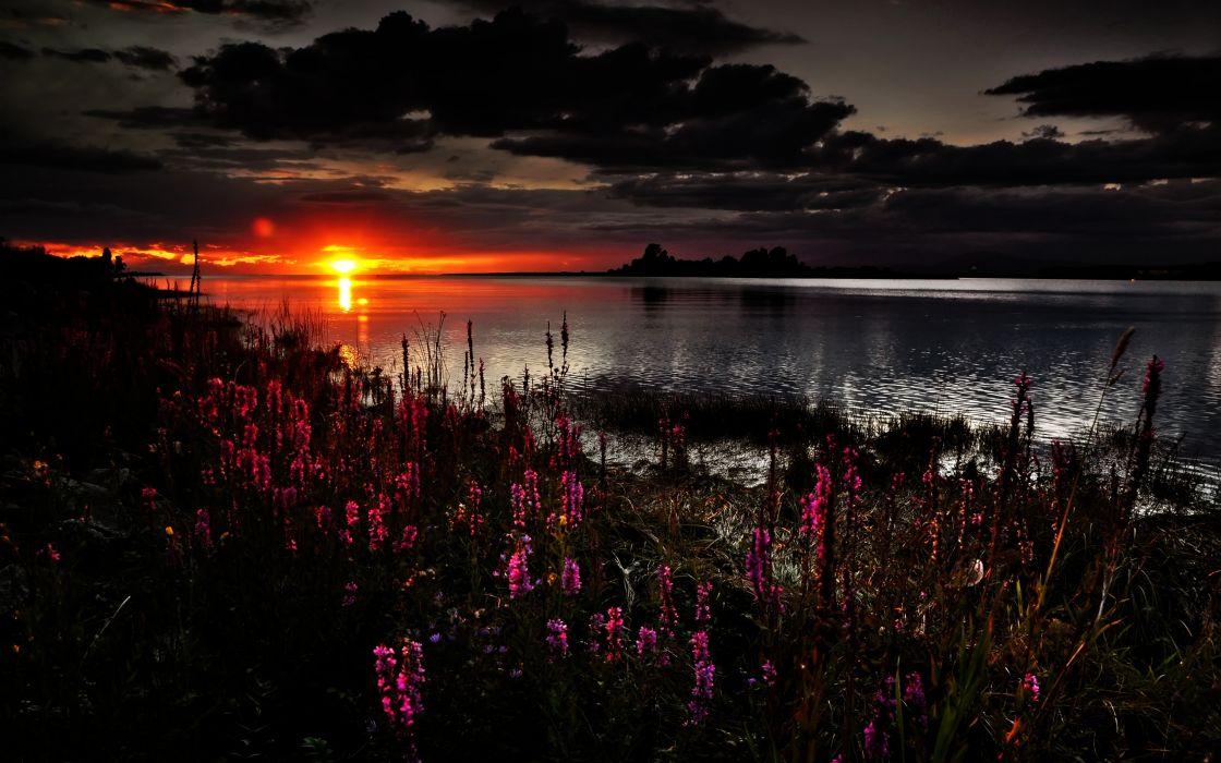 Beautiful dark sunset wallpaper
