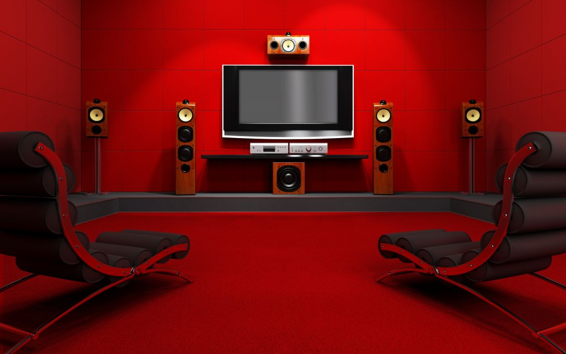 Red room with home cinema wallpaper
