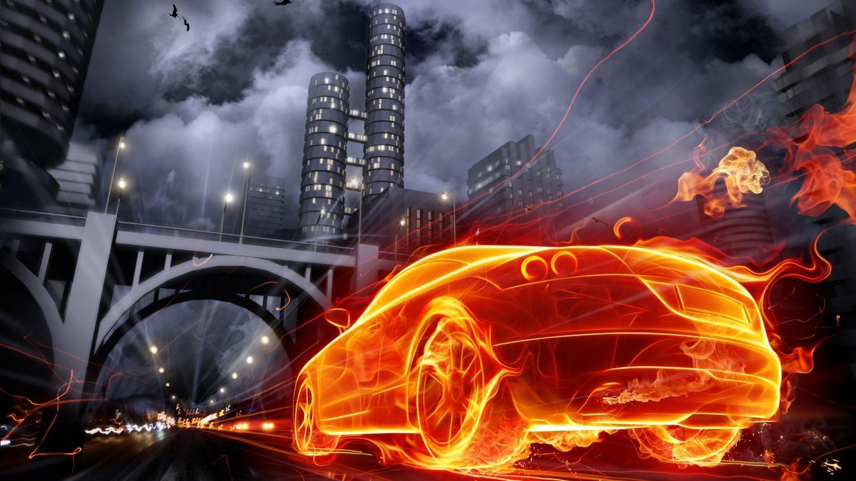 Burning car wallpaper