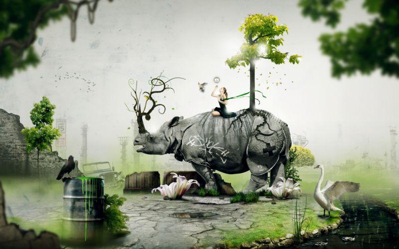 Cool digital rhino wallpaper