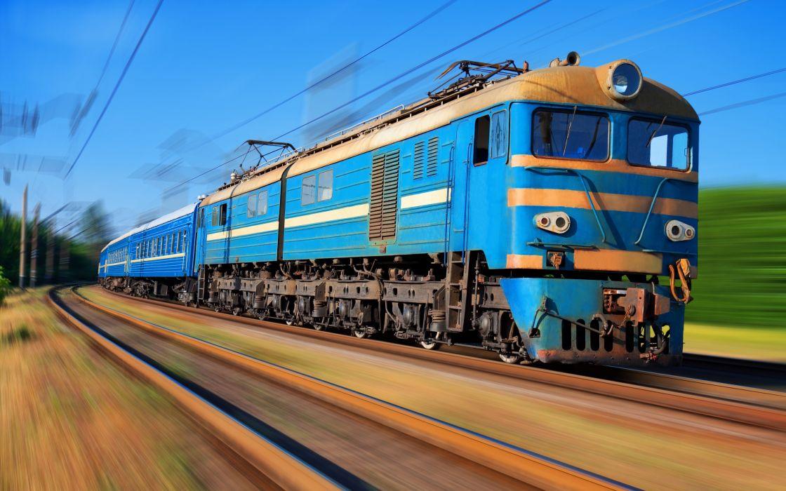 Old blue train wallpaper