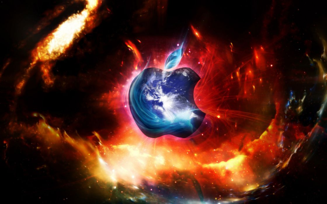 Apple in space wallpaper