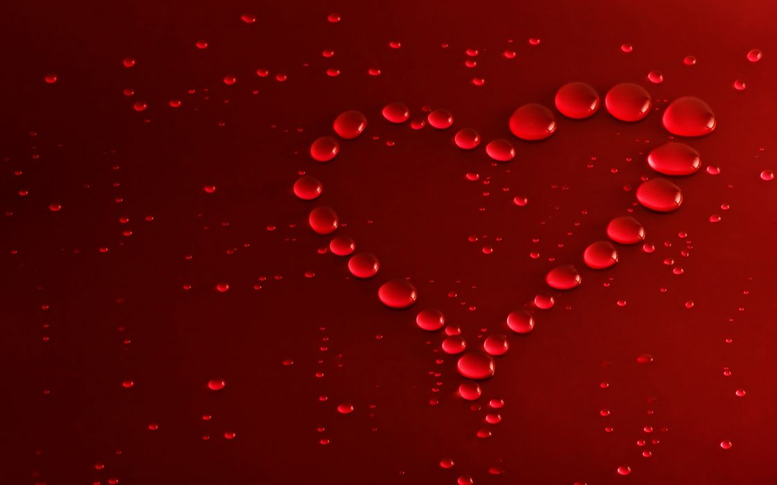 Red bubbles heart wallpaper