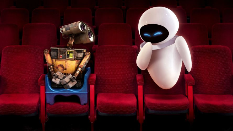 Wall E and Eve in Theater wallpaper