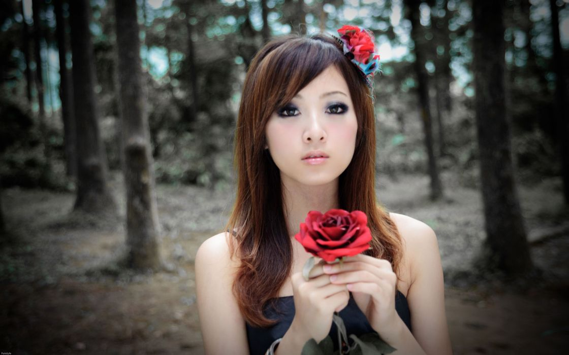Girl with a red rose wallpaper