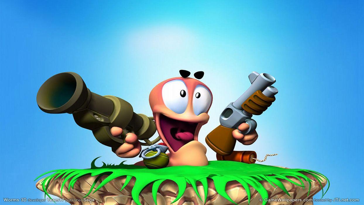 Worms Sega Blue Game wallpaper