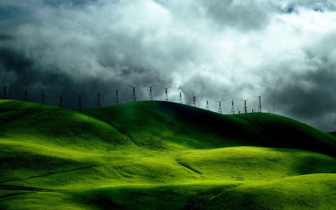 Wind turbine fields wallpaper