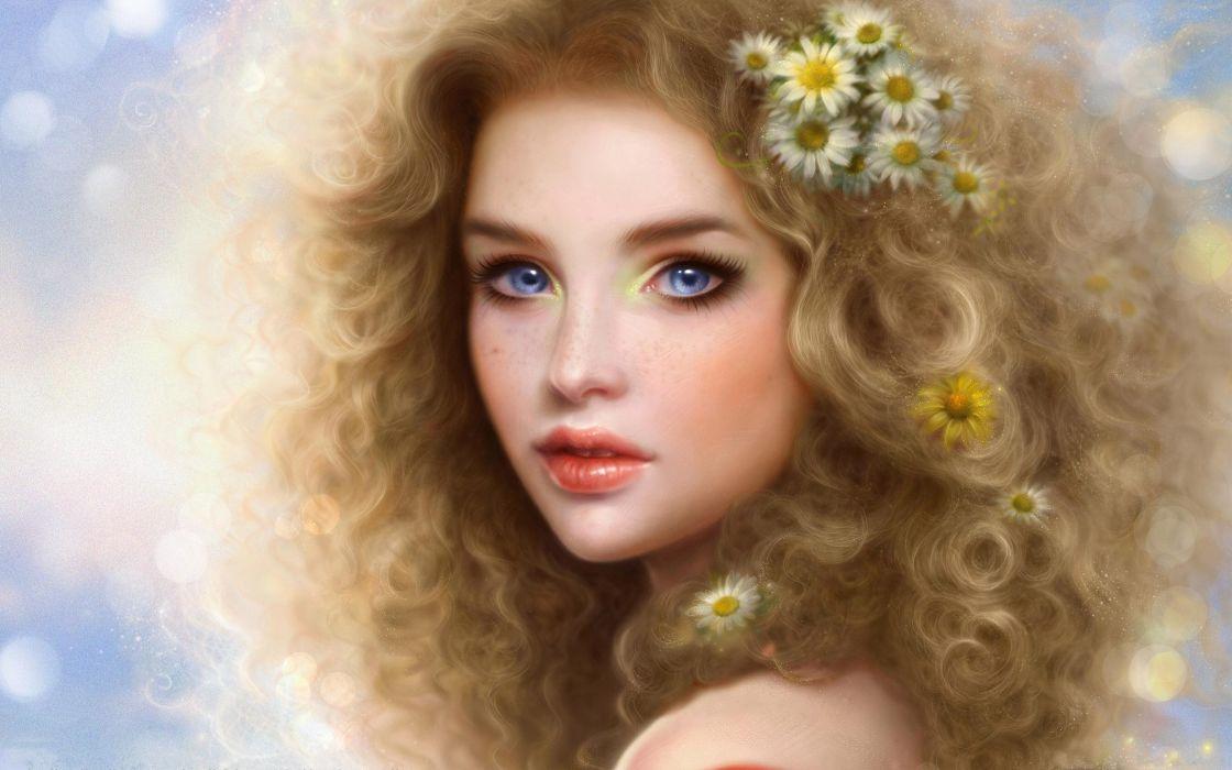 Smiling blond girl - artwork wallpaper