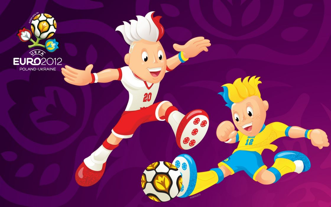 Uefa euro 2012 mascots paying game purple wallpaper