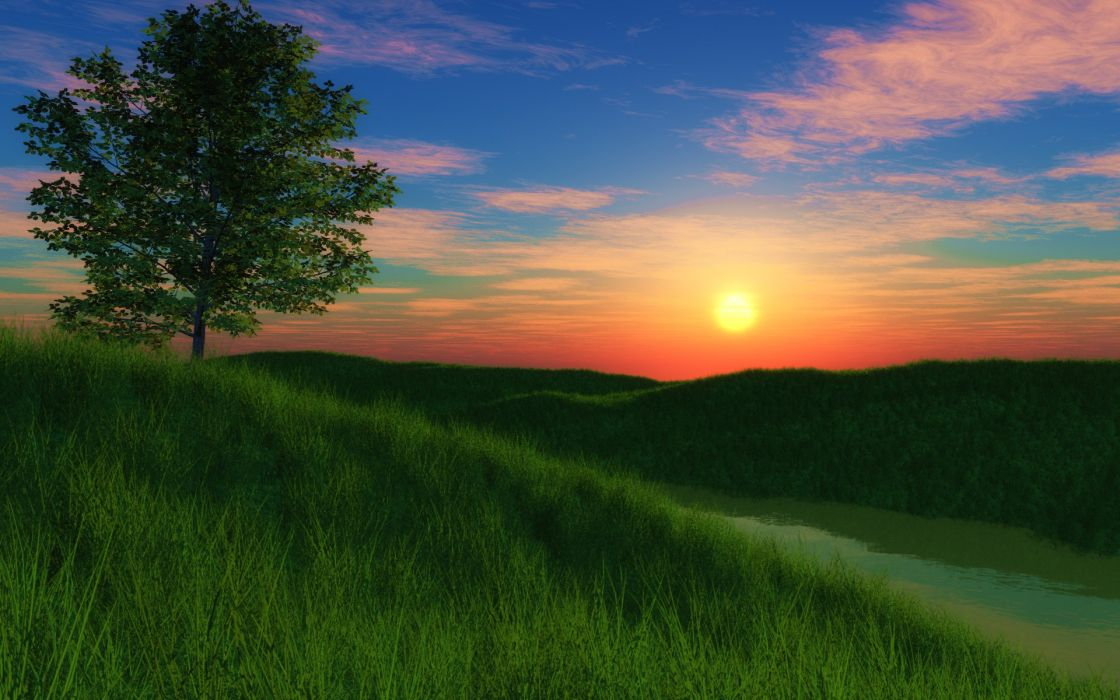 Grassy hill sunset wallpaper