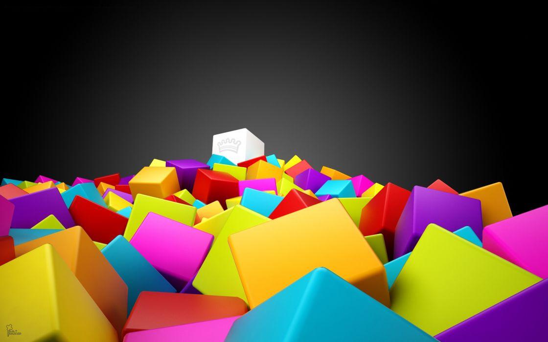 3D colorful squares wallpaper