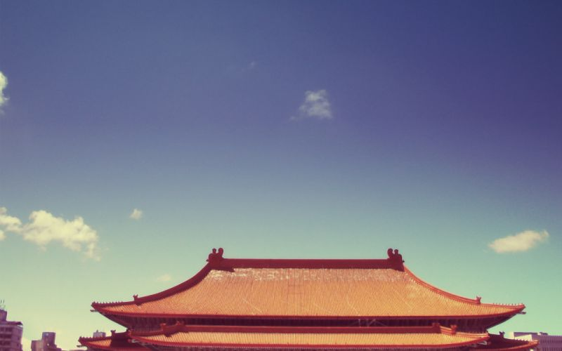 Chinese roof wallpaper