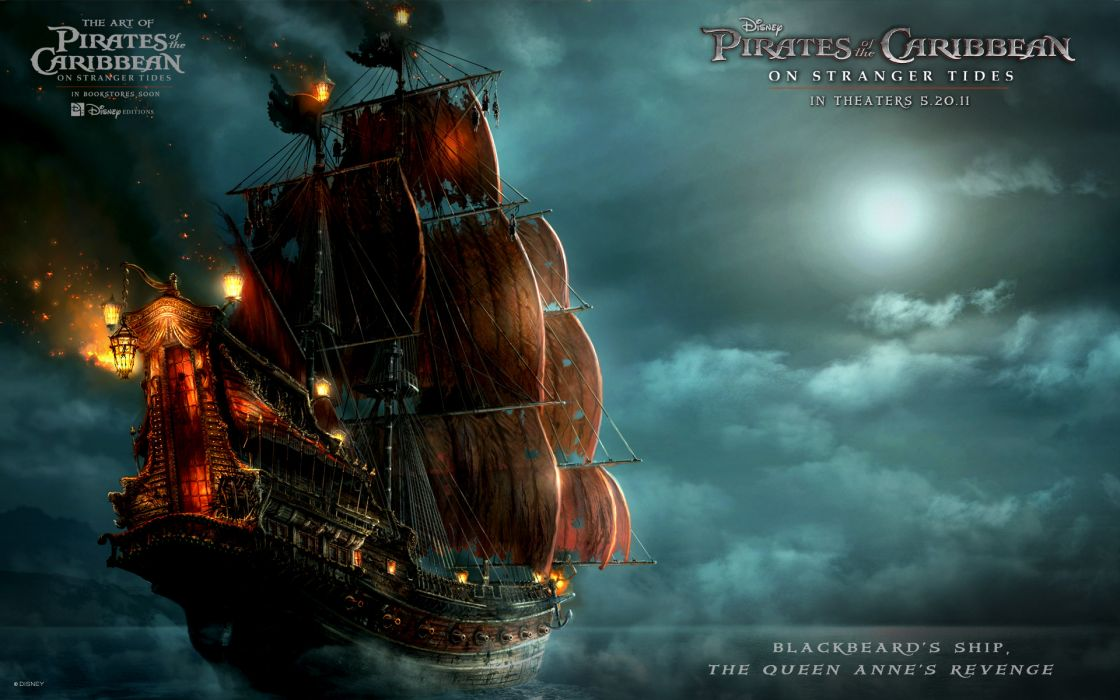 Blackbeards ship in pirates of the caribbean 4 wallpaper