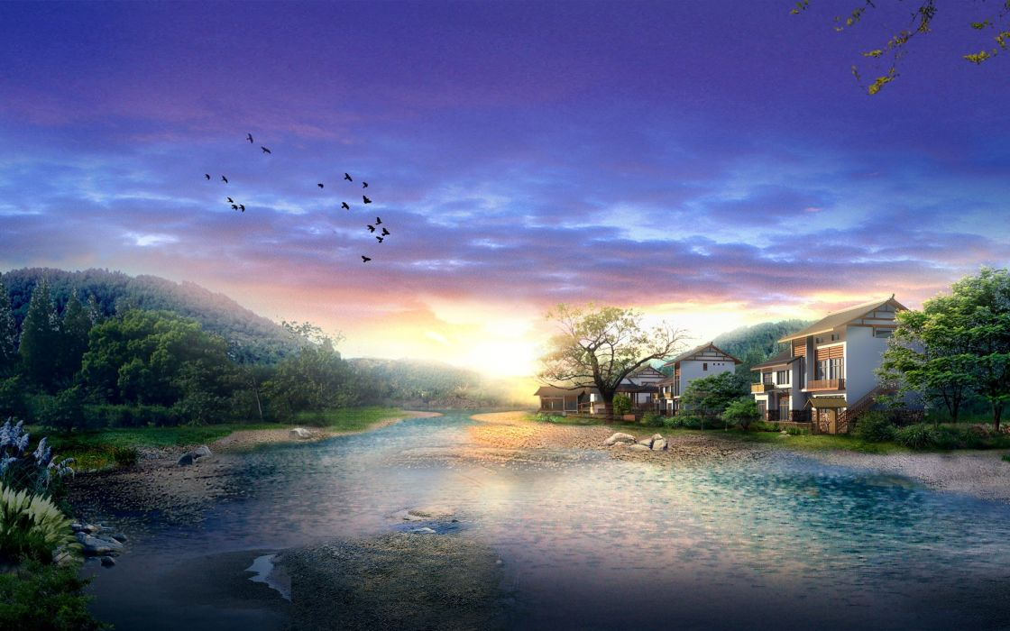 Sunrise in digital japan wallpaper