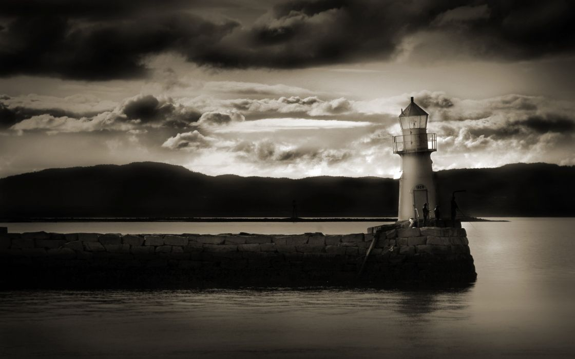 Dark light house wallpaper