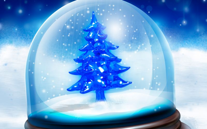 Snowy christmas tree wallpaper
