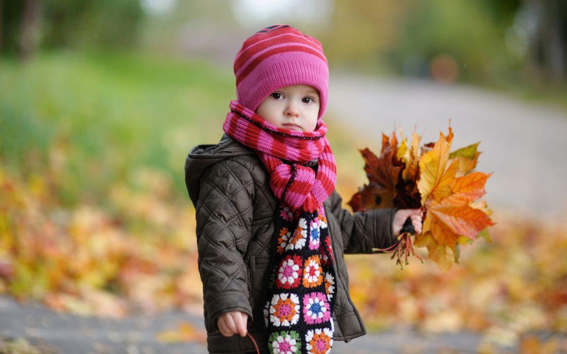 Cute baby in autumn wallpaper
