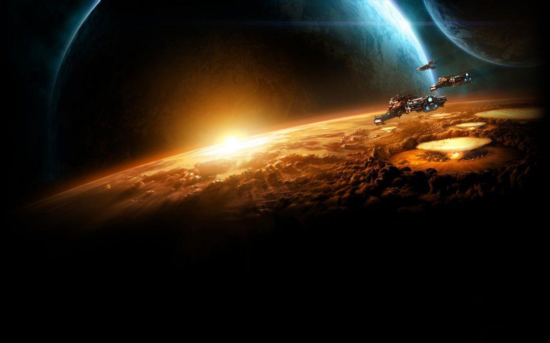 Starcraft 2 battlecruisers over horizon wallpaper