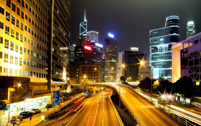 Hong Kong city nights wallpaper