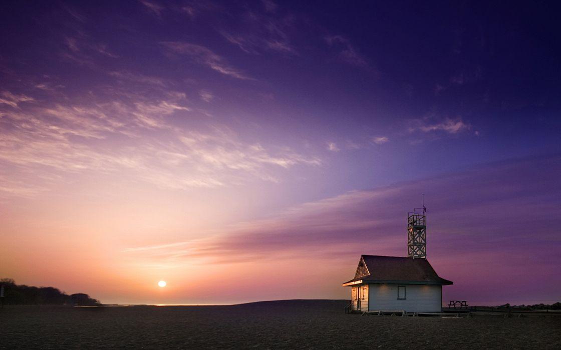 Beach house at sunrise wallpaper