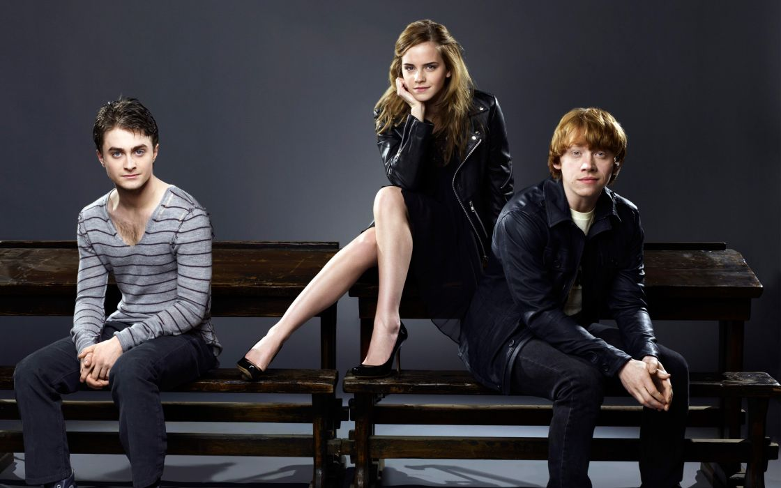 Emma watson with harry and ron wallpaper