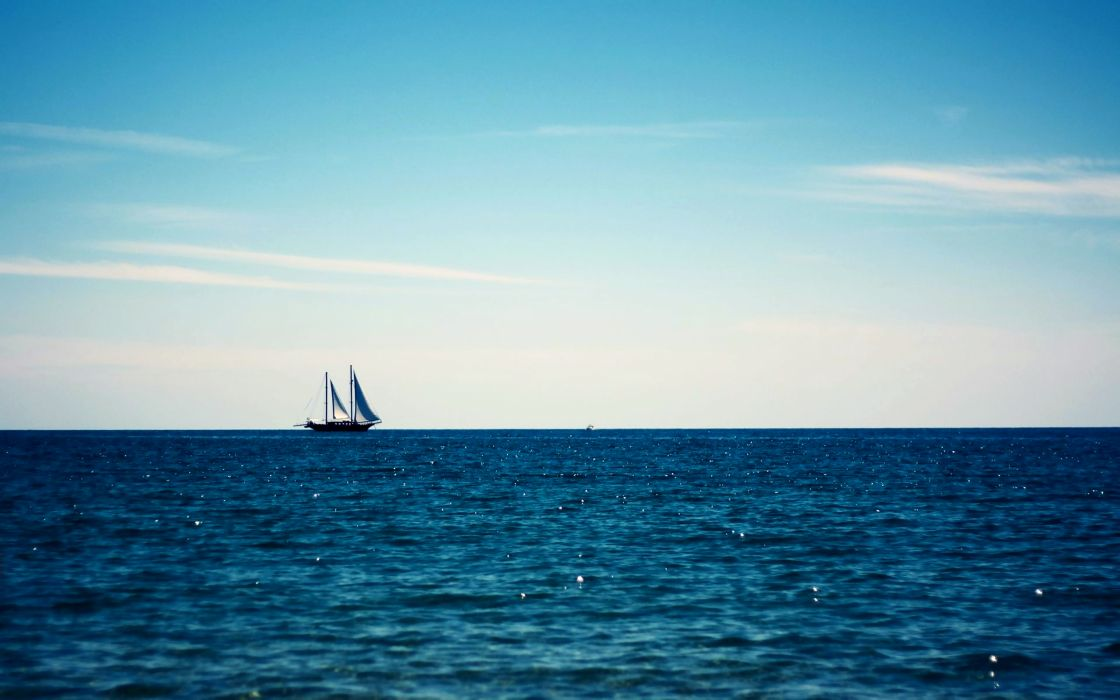 Boat sailing in the blue sea wallpaper