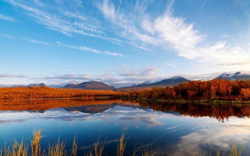 Clouds autumn reflection wallpaper